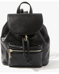 Forever 21 Faux Leather Drawstring Backpack , Black