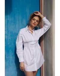 Forever 21 Dropped-sleeve Shirt Dress - White