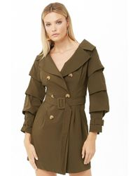 Forever 21 Ruffled Sleeve Trench Coat , Olive - Green
