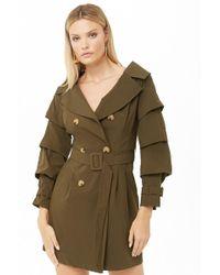 Forever 21 Women's Ruffled Sleeve Trench Coat - Green