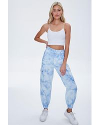 Forever 21 Tie-dye Cargo Pants - Blue