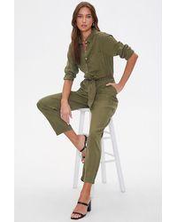 Forever 21 Belted Straight-leg Jumpsuit - Green