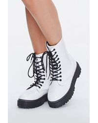 Forever 21 Lug-sole Combat Boots - White