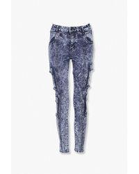 Forever 21 Acid Washed Skinny Ankle Jeans - Blue