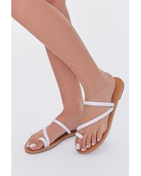 Forever 21 Braided Toe Loop Sandals - White