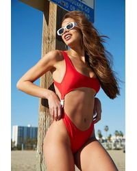 Forever 21 Cutout One-piece Swimsuit - Red