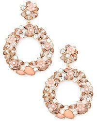 Forever 21 - Rhinestone & Floral Drop Hoop Earrings - Lyst