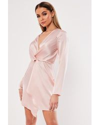 Missguided Plunging Satin Dress At , Rose - Pink