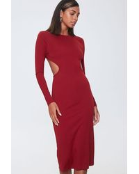 Forever 21 Open-back Bodycon Midi Dress - Red