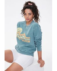 Forever 21 Fleece Aspen Graphic Sweatshirt - Blue