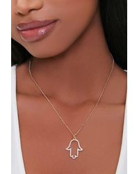 Forever 21 Hand Pendant Necklace - Metallic
