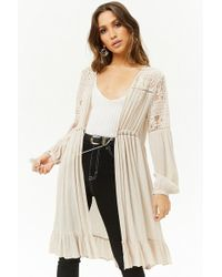 Forever 21 - Ruffle & Lace Longline Cardigan - Lyst