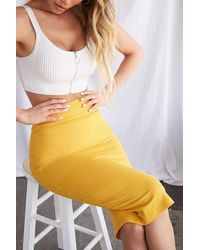 Forever 21 - Women's Ribbed Bodycon Midi Skirt - Lyst