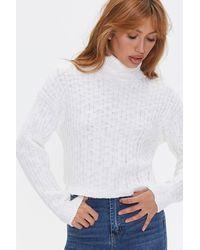 Forever 21 Ribbed Turtleneck Sweater - White