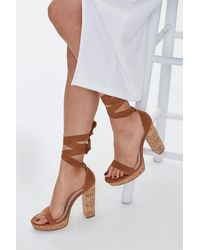 Forever 21 Wraparound Cork Platform Heels - Multicolour