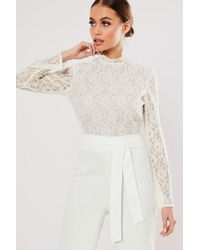 Missguided Lace Combo Jumpsuit At , White