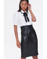 Forever 21 Faux Leather Pencil Skirt - Black