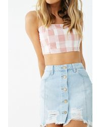 f1b96e551f Forever 21 - Distressed Button-front Denim Skirt - Lyst