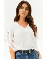 Forever 21 - Shadow-striped Angel Sleeve Top - Lyst