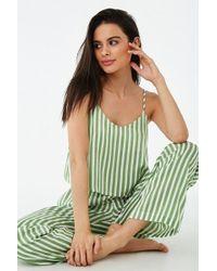 Forever 21 Women's Pinstriped Silk Lounge Set - Green