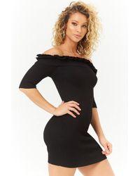 96954cd14ae Forever 21 Metallic Velvet Off-the-shoulder Dress in Black - Lyst