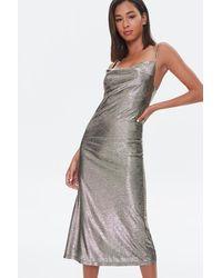 Forever 21 Metallic Cami Midi Dress In Gold Medium