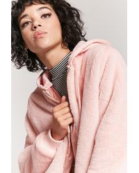 Forever 21 Hooded Faux Fur Jacket - Pink