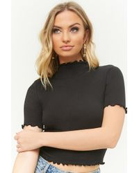 b4fc8652f67c27 Forever 21 Mock Neck Ribbed Knit Top in Black - Lyst