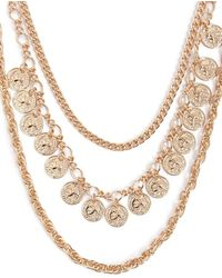 Forever 21 - Layered Coin Charm Chain Necklace - Lyst