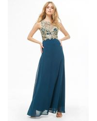 Forever 21 - Soieblu Floral Applique Gown - Lyst
