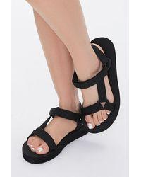 Forever 21 Strappy Flatform Sandals - Black
