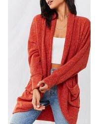Forever 21 Marled Shawl Cardigan , Rust - Red