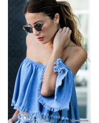 Forever 21 - Frayed Trim Chambray Crop Top - Lyst c7b5f91b8