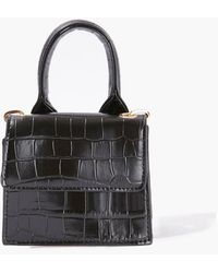 Forever 21 Faux Croc Leather Crossbody Bag - Black
