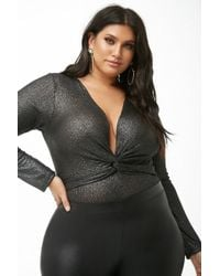 eb758a2905 Forever 21 - Women s Plus Size Metallic Bodysuit - Lyst