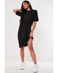 Missguided - Knot-front T-shirt Dress At - Lyst