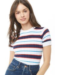 512eccb3d7f52 Lyst - Forever 21 Striped Lettuce-edge Tee in Red