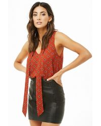 Forever 21 - Geo Print Tie-neck Top - Lyst