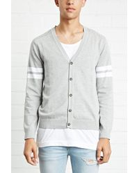 Forever 21 - 's Ribbed-yoke Cardigan Sweater - Lyst