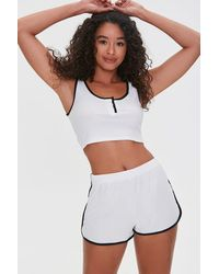 Forever 21 Ribbed Crop Top & Shorts Lounge Set - White
