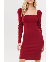 Forever 21 - Puff-sleeve Bodycon Dress , Wine - Lyst