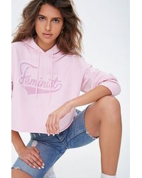 Forever 21 Feminist Graphic Hoodie - Pink