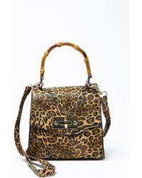 Forever 21 Leopard Print Satchel , Black/brown