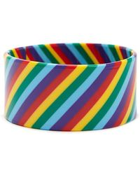 Forever 21 Wide Rainbow-striped Bangle , Red/multi - Blue