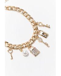 Forever 21 Lock & Key Charm Bracelet , Gold - Metallic