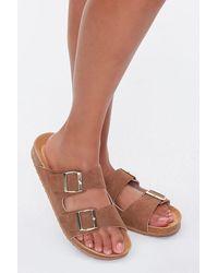 Forever 21 Buckled Flatform Sandals (wide) - Brown