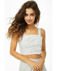 Forever 21 - Striped Button-front Crop Top - Lyst