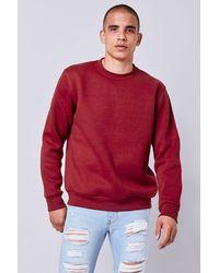 Forever 21 Fleece Crew Neck Sweatshirt - Red