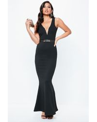 Missguided - Plunging Gown At - Lyst