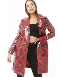 Forever 21 Plaid Print Trench Coat , Red/multi